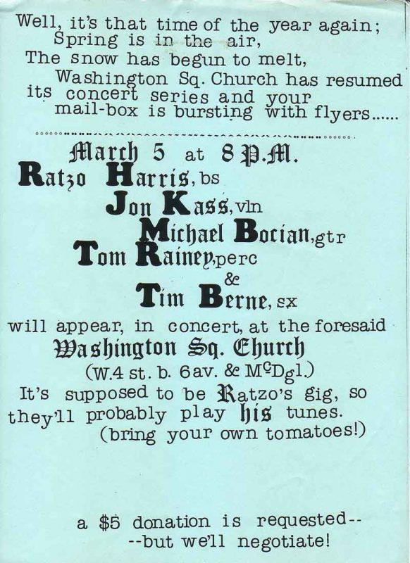 Ratzo Harris bass Tim Berne sax