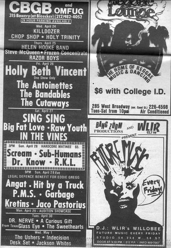 The Village Voice 4/3/1985 Benefit for Eddie Gregg CBGB