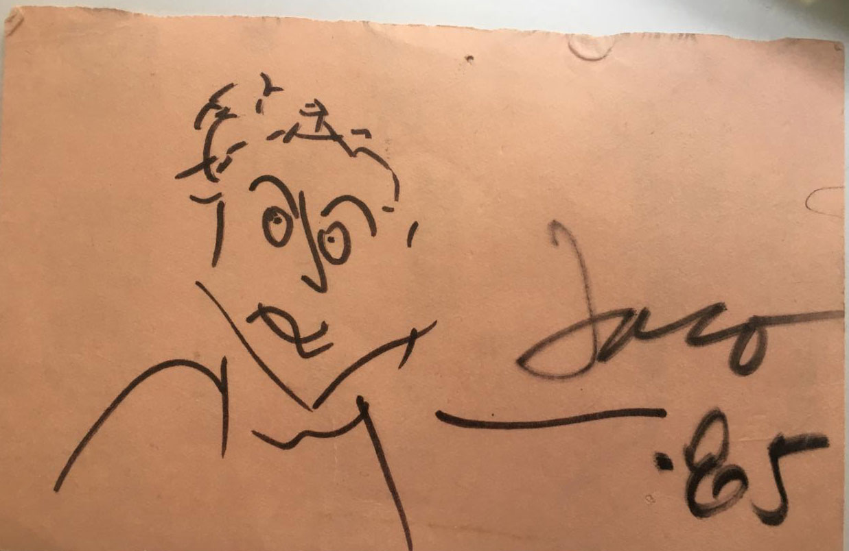 Original drawing by Jaco Pastorius of Joe Bannon in 1985